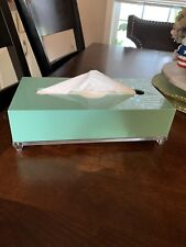 Vintage Mid Century Thick Lucite Acrylic Tissue Box Holder Cover Mint Green