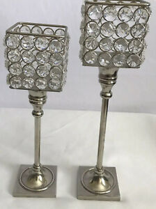 Stainless Steel Crystal Tabletop Candle Holders Lampshade Decor Set of 2