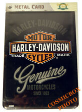 Carte postale en métal logo HARLEY DAVIDSON plaque moto Genuine cycles postcard