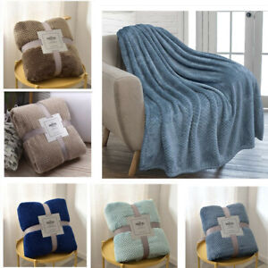 Waffle Design Luxurious Throws Super Soft Warm Cosy Sofa and Bed Fleece Blankets