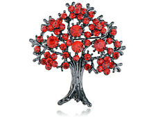 Ruby Red Crystal Rhinestone Fall Cherry Bloom Flower Blossom Oak Tree Pin Brooch