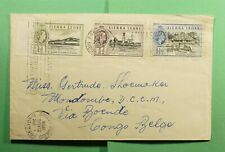 DR WHO 1958 SIERRA LEONE FREETOWN SLOGAN CANCEL TO BELGIUM CONGO  f55184