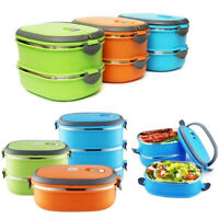 1/2/3 LAYER THERMAL INSULATED BENTO STAINLESS STEEL FOOD CONTAINER LUNCH BOX STR
