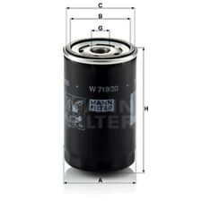 Mann W719/30 Oil Filter Spin On 123mm Height 76mm Outer Diameter Service