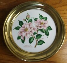 Winterling Roslau Plate Brass Rim Camellia by Stoku Bavaria Vintage