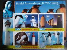 G177 Grand Bloc Feuillet CONGO Roald AMUNDSEN PINGOUINS PHARES ANTARCTIQUE MNH