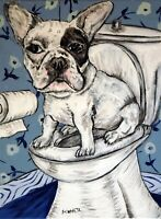 french bulldog bathroom dog 8x10  art artist PRINT animals impressionism
