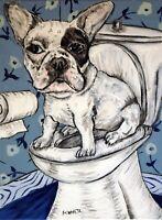 french bulldog bathroom dog 8x10  art artist PRINT animals impressionism