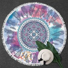 Pink Aqua Round Beach Towel Mandala Feather Hippie Yoga Mat Bohemian Bath Towel