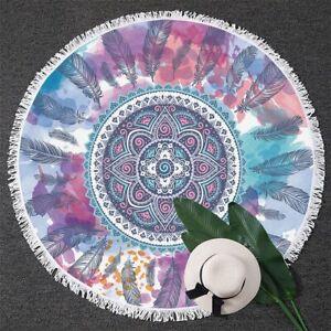 Pink Aqua Round Beach Towel Mandala Feather Hippie Yoga Mat Bohemian Bath Towel