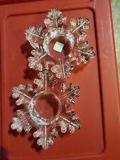 PartyLite Snowflake Tealight Pair P9462 Set Lot 2 Glass Holders