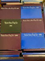 US Proof Sets Estate Sale Lot With Boxes US Coins Mints Different Sets 1970-1999