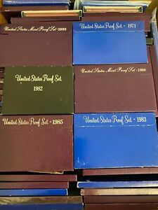 US Proof Sets Estate Sale Lot With Boxes US Coins Mints Different Sets 1970-1999