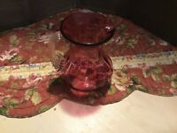 """Cranberry Pitcher With Clear Applied Handle 3.5"""" Tall Hand Blown"""