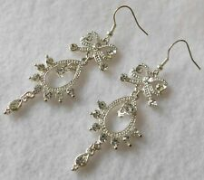 Silver Tn Dangle Earrings Rhinestones Bow Hook, Bow