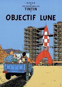 Reiseziel Mond - Tim und Struppi tintin Kunstdruck Poster Plakat