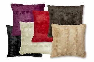 "Luxury Faux Fur Ribbed Reversible Cushion Covers or Filled Cushions - 18"" / 45cm"