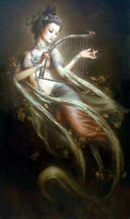 """Beautiful art Oil painting Chinese Dunhuang flying fairy with flowers 24""""x36"""""""