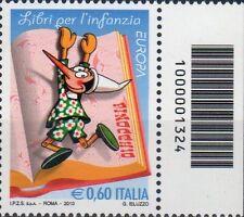 2010 francobollo Europa - Libri per l'infanzia: Pinocchio CODICE A BARRE 1324