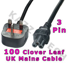 100 x Clover Leaf 3-Pin Power Cord Mains Cable Lead UK Plug!!! Laptop 5A FUSED