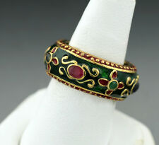 Anello Smeraldi Rubini colorato Smaltato Fatto a mano Argento dorato (31955)