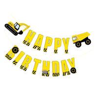 Excavator Truck Banner Hanging Bunting Garlands for Kids Boy Birthday Decor