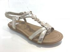 LADIES WOMENS GOLD LOW WEDGE HEEL JEWELLED DIAMANTE PADDED SANDALS SHOES SIZE 4