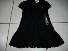 Nwt Ralph Lauren Girl 2 2T Navy Blue Cable Sweater Dress Pink Pony Winter Easter
