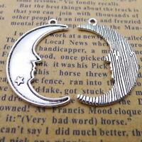 10pcs Tibetan Silver Charms Moon Face Shape Beads Pendant DIY Bracelet 20*32mm