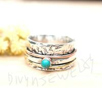 Turquoise Solid 925 Sterling Silver Spinner Ring Meditation Band Ring Size sr525