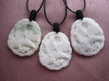 White or Light Green Jade Carved Eagle Gemstone Pendant  Necklace - Unisex.