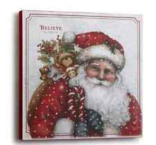 "Santa with Toy Sack Wall Art, Believe, Christmas, Holiday Mercantile, 18""Square"