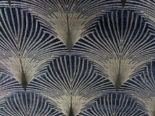 New York Deco Chenille Velvet Fibre Naturelle Curtain/Upholstery Fabric Navy