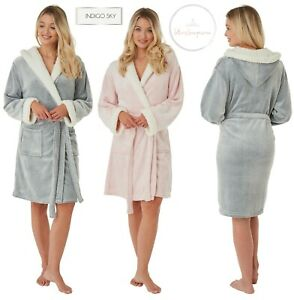 Ladies Pink Soft Feel Hooded Dressing Gown Robe House Coat