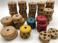 VINTAGE Wooden Tinker Toy Part Lot of 46 Spools ~ Replacement Pieces