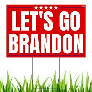 Let's Go Brandon Yard Sign | F Joe Biden Funny Chant Lawn Sign with Metal Stake