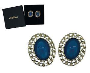 Craftuneed women retro resin gemstone oval shape stud earrings silver pin