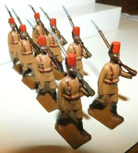 Pre-War BRITAINS 1930s Lead, British King's African Rifles, 8 Piece Set #225