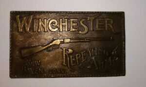 Vintage Brass Winchester Repeating Arms New Haven Conn Belt Buckle / A-156