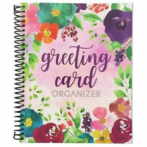 """Floral Greeting Card Organizer Book Keeper Spiral Bound with Pocket 10 x 8.5"""""""