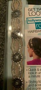 Scunci real style roll hairband pearl like color beads and silver new in box