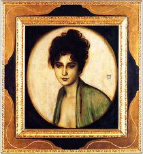 Franz von Stuck 15 Bildnis Frau Feez Platte 48x50 LIEBLINGSMODELL PORTRAIT INTIM