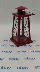 """RED tapered trapezoid 10"""" tall Candle holder lighthouse lantern"""