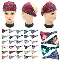 Boho Print Wide Cotton Headband Head Wrap Sports Yoga Turban Hair Band Bandana