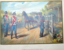 US ARMY OFFICER AND INFANTRY UNIFORM WAR OF 1812 ~ Old 1899 Lithograph Art Print