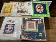 Lot Of 5 Crewel Cross Stitch Quilting Squares Stitchery Needlepoint Craft Kits