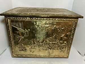 "Vtg Embossed Brass Wood Kindling Firewood Box Storage ""Anne Hathaways Cottage"""