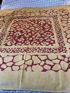 "Brand New Belgium Chenille Tapestry Throw Giraffe Pattern Burgundy Gold 59X59"""