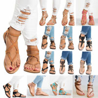Women Flat Sandals Summer T Strap Open Toe Shoes Flip Flops New Size Roman Style