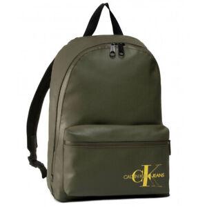 CALVIN KLEIN Khaki Logo Backpack Tech Friendly Rucksack School Gym Travel